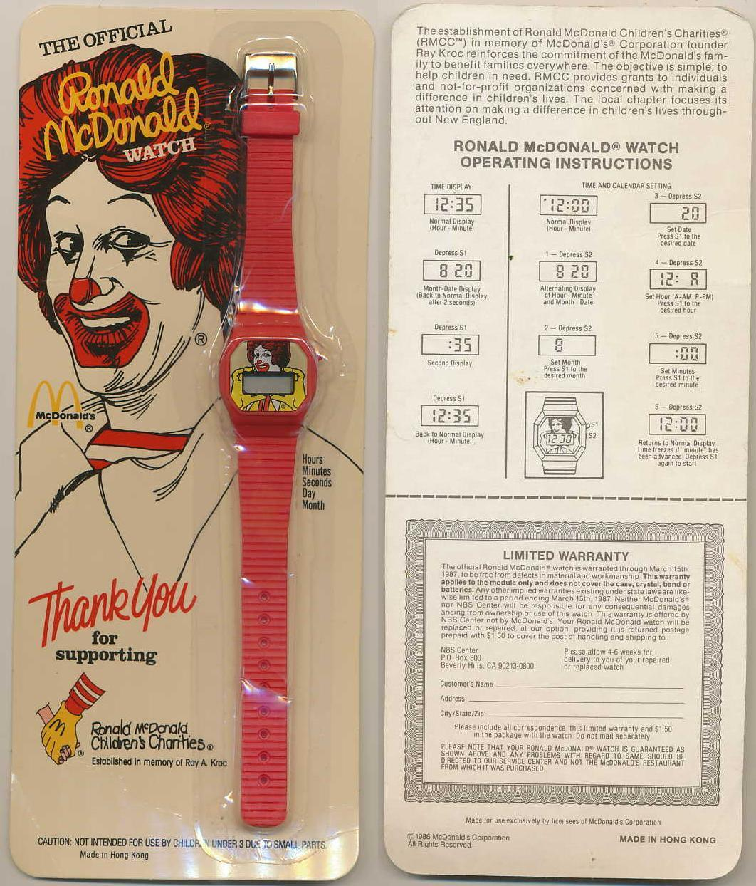 Primary image for VINTAGE RONALD MCDONALD CHILDREN'S CHARITIES PROMOTIONAL RED WATCH SEALED 1986 !