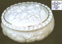 Lenox china trinket box raised fruit design oval gold trim - $5.89