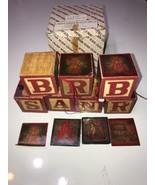Lillian Vernon Holiday Blocks Merry Christmas Vintage Set of 7 LV9019 Sa... - $11.61