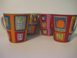 "Lot of 4 Ceramic STONEWARE Kitchen Coffee Mug Cup Original 4X3.75"" Signa... - $19.27"