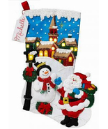 Bucilla Felt Stocking Kit, Christmas Village LED lights, 18in embroidery... - $29.49