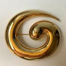 Monet Big Swirl Design Abstract Brooch Pin Vintage Gold Tone Shiny Gloss... - $24.70