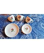 Vtg Porcelain/Ceramic child's tea dishes w/single pink rose pattern (Inc... - $6.00
