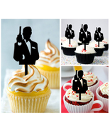 Ca321 Decorations cupcake toppers James Bond 007 silhouettes Package : 1... - $10.00