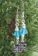 Blue Diamond Drop Earrings - $12.00