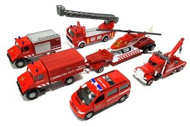 Fire Fighting Department Die-Cast Car Helicopter Tow Ladder Truck Vehicle Toy