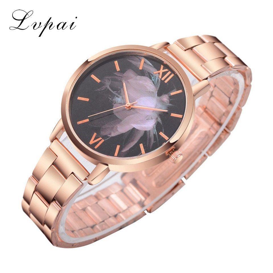 Lvpai® Pink Flowers Watch Women Stainless Steel Fashion Luxury Rose Gold Quartz