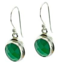 fine Green Onyx 925 Sterling Silver Green Earring genuine gemstones US gift - $23.75