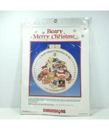 Dimensions Crewel Embroidery Kit Beary Merry Christmas Hoop Plaque 1986 ... - $24.99