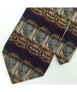 UNICEF ARCHITECTURAL NAVY BROWN LIONS Gray Silk Mens Neck Tie N1-49 Exce... - $15.83