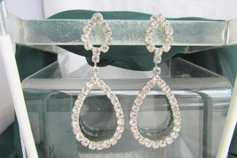 White Crystal Rhinestone Earrings Tear Drops Pierced Post Silver Plate S... - $16.19