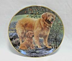 "Danbury Mint Golden Retriever Dog Goldens In The Garden Collector Plate - 8"" - $17.99"