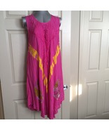 Womens Tie-Dye Dress Boho Pink Size XL Embroidered Sleeveless Scoop Neck... - $22.78