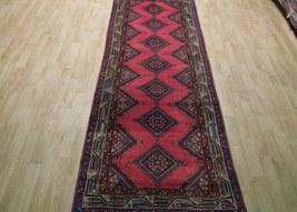 Pink Hamadan Persian Wool Handmade Rug 3x9 All-Over Geometric Rug image 12