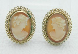 Vintage Vendome Real Cameo Gold Tone Clip Earrings Hard To Find - $49.50