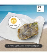 30pcs AAA round akoya GOLD pearl in oyster 6-7mm with vacuum-packed - $159.90