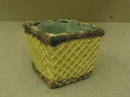 Designer Flower Pot 4 1/2in x 4 1/2in x 4 1/2in Green/Yellow Rustic Terr... - $14.28