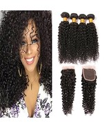 Kinky Curly Hair Bundles With Closure Pre Plucked Closure With Baby Hair... - $163.04
