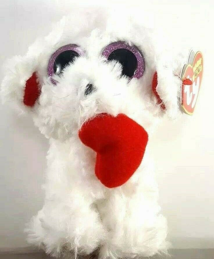 Ty Valentine Honey Bun Poodle Puppy Dog Beanie Plush Stuffed Red Heart New 6""