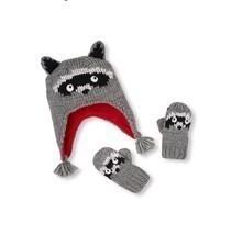 The Children's Place Baby Boy Knit Raccoon Hat & Mitten Set Size 6 - 12 ... - ₨462.23 INR