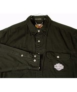 Harley Davidson Motorcycles Black L Shirt Snap Dn Collar Flame Embroider... - $54.99