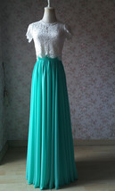 Blue Green Maxi Chiffon Skirt Silk Chiffon Maxi Skirt Wedding Chiffon Skirt image 6
