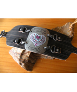 Leather Bracelet Band with Pretty Metal Heart Plaque Handmade - $17.00