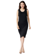 Belle by Kim Gravel Large Lovabelle Lounge Ruched Dress Black L - $12.16