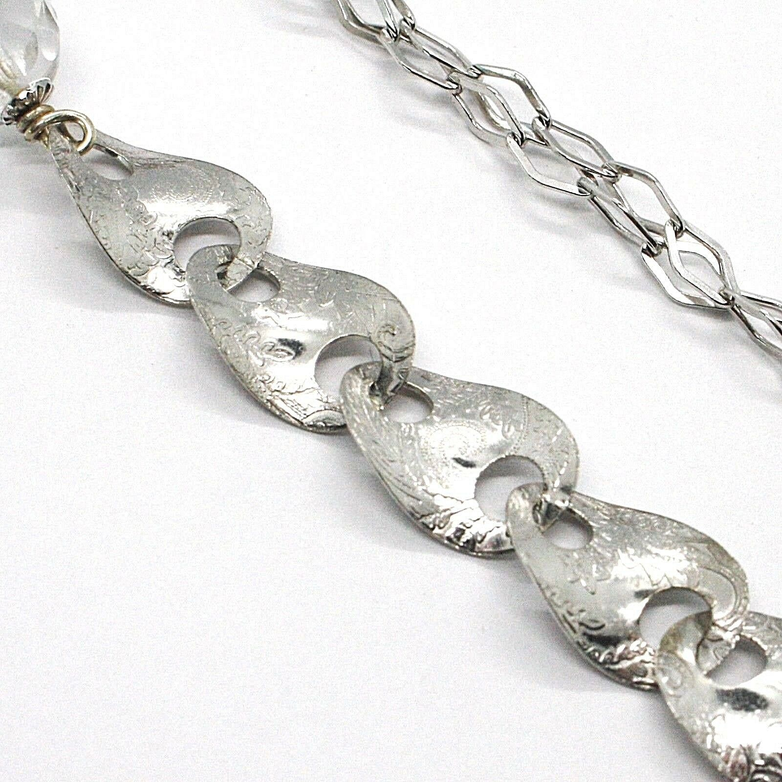 925 Silber Halskette, Jade Braun, Länge 80 cm, Kette Strick Blumen