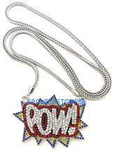 POW Necklace New Crystal Rhinestone Pendant with 36 Inch Franco Chain Hip Hop - $29.97
