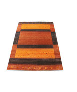 """5'7""""x7'9"""" Almond Color Stripe Gabbeh Woollen 100% Hand Knotted Rugs & Ca... - $781.11"""