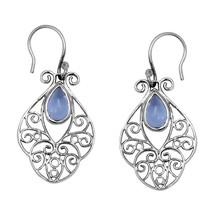 Pear Cab Blue Topaz Gemstone 925 Sterling Silver Filigree Dangle Earring - $26.83
