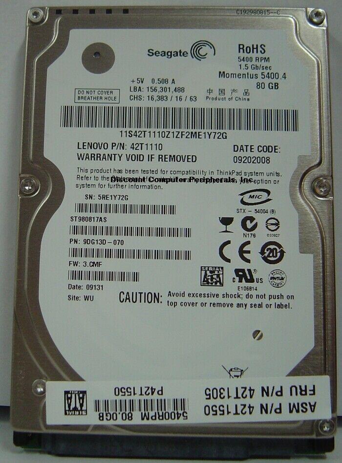 New 80GB SATA Seagate ST980817AS 5400RPM 2.5in 9.5MM Hard Drive Free USA Ship