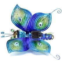 Painted Metal & Glass Solar Powered Light Garden Decoration Butterfly Decor image 3