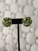 BSK Rhinestone Green Pink Leaf Clip On Earrings Vintage - $9.69