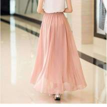 Candy Color Elegant Pleated Women Chiffon Maxi Skirt image 4