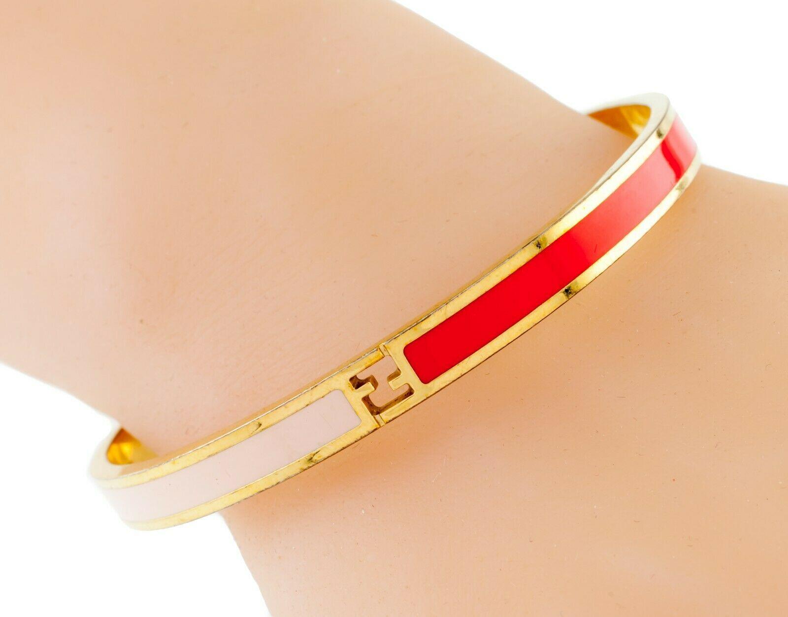 Fendi Fendista Plaqué or et Rose Bracelet Rouge Ff Logo Nice