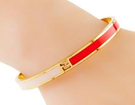 Fendi Fendista Plaqué or et Rose Bracelet Rouge Ff Logo Nice image 1
