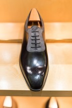 Handmade Mens forms shoes, Men two tone dress shoes, Men suede and leather shoes - $149.99