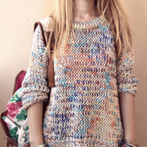 Vintage Rainbow Color Knitted Pullover - $24.66