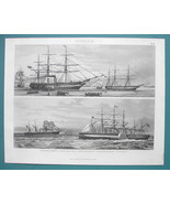 NAVY English Frigates Dauntless Great eastern - 1870s Superb Print - $33.66