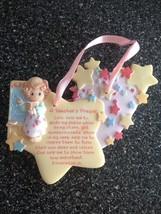 2000 Enesco Precious Moments A Teacher's Prayer Ornament Pink Ribbon Retired - $14.99