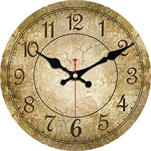ShuaXin Silent Wooden Round Wall Clocks,6 Inch Small Simple Retro Brown ... - $14.10