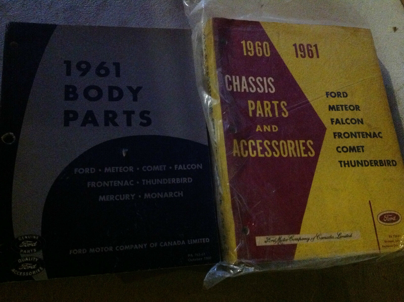 1961 Ford Falcon Frontenac Thunderbird Chassis Teile & Zubehör Manuell Set