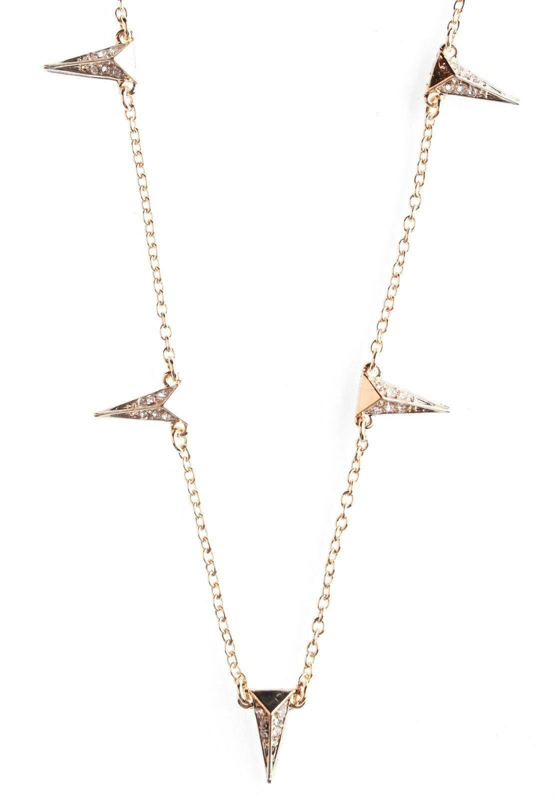"""16"""" + 2"""" Fragments Gold CZ Crystal Pave Wedge Spike Station Necklace"""