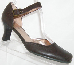 Kenneth Cole Reaction brown leather square toe ankle strap heel 5.5M - $28.47