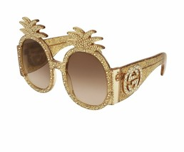 New Sold Out Neiman Marcus Gold Rhinestone Gucci Pineapple ananas Sunglasses OS - $1,100.00
