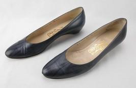 Salvatore Ferragamo Women's 9 1/2 AAAA Leather Blue-Gray Metallic Shoes - $35.89