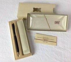VTG Ladies CROSS SLIM CLASSIC BLACK FLORAL Ball Point Pen In Box 2542 Bl... - $29.99