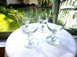 Set of 4 High Quality Clear Crystal Water Goblets Vintage 1940's Star & ... - $27.72